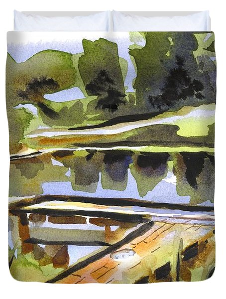 Evening Shadows At Shepherd Mountain Lake Duvet Cover