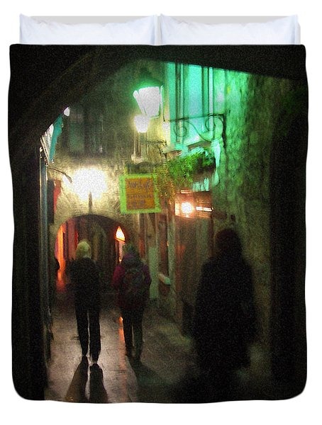 Evening Shoppers Duvet Cover