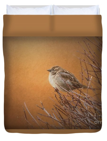 Evening Sparrow Song Duvet Cover