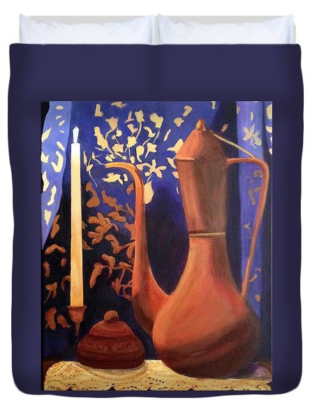 Duvet Cover featuring the painting Evening Still Life by Patricia Cleasby