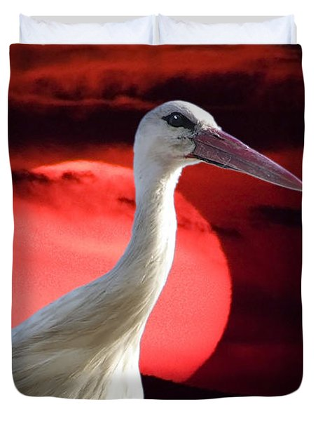 Evening Stork  Duvet Cover