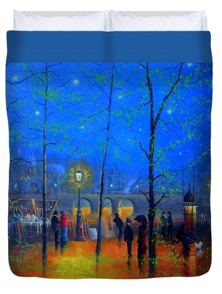 Evening Street Market Paris Duvet Cover by Joe Gilronan