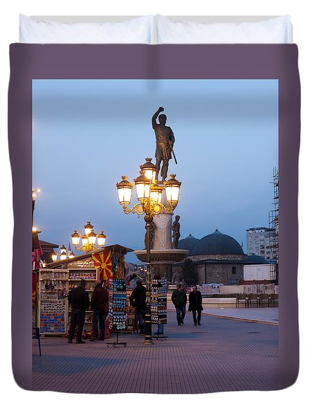 Evening Stroll In Skopje Duvet Cover by Rae Tucker