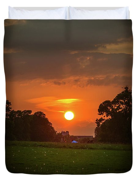 Evening Sun Over Picnic Duvet Cover