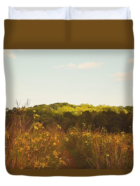 Duvet Cover featuring the photograph Evening Sunset Glow by Nikki McInnes