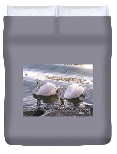 Evening Swans Duvet Cover