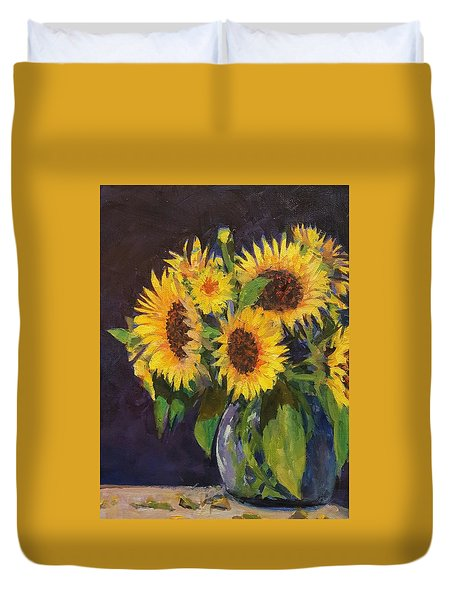 Evening Table Sun Flowers Duvet Cover