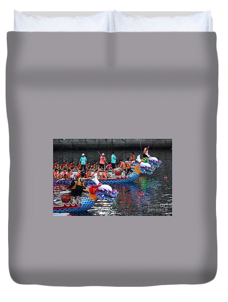 Evening Time Dragon Boat Races In Taiwan Duvet Cover