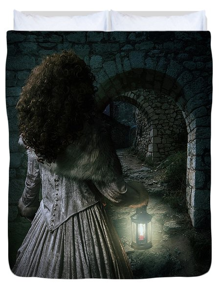 Evening Walk In Old Ruins Duvet Cover