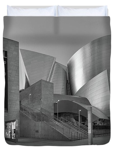 Duvet Cover featuring the photograph Evening With Gustavo - Walt Disney Concert Hall - Black And White Rendition by Ram Vasudev