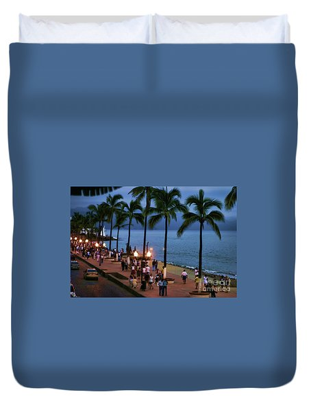 Evenings On The Malecon Duvet Cover by Chuck Kuhn