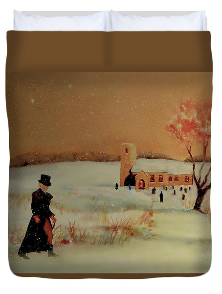 Duvet Cover featuring the painting Evensong by Valerie Anne Kelly