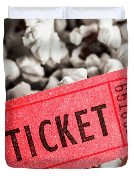 Event Ticket Lying On Pile Of Popcorn Duvet Cover