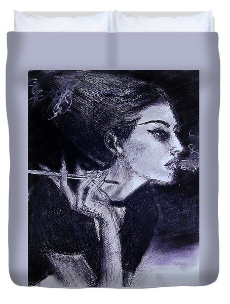 Duvet Cover featuring the drawing Ever Dream by Jarko Aka Lui Grande