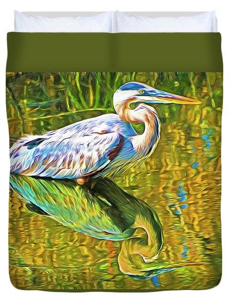 Everglades Blue Heron Duvet Cover by Dennis Cox