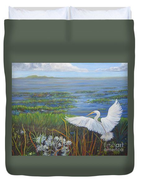 Everglades Egret Duvet Cover by Anne Marie Brown