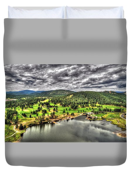 Evergreen Lake And Golf Course Duvet Cover