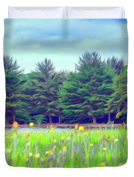 Evergreen Lake - Impressionism Duvet Cover