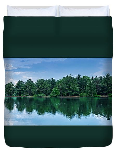 Evergreen Lake Reflections Duvet Cover