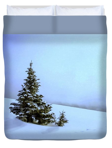 Duvet Cover featuring the painting Evergreen Offspring P D P by David Dehner