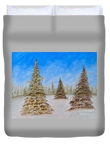 Evergreens In Snowy Field Enhanced Colors Duvet Cover