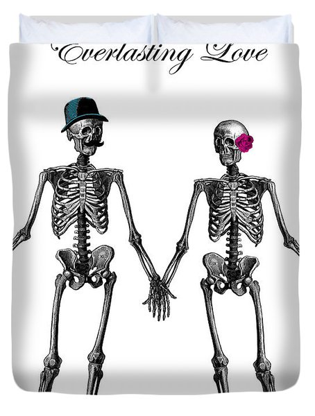 Everlasting Love Couple Skeleton Couple Duvet Cover