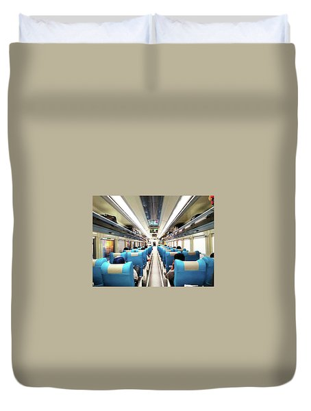 Perspective Inside A Train Duvet Cover