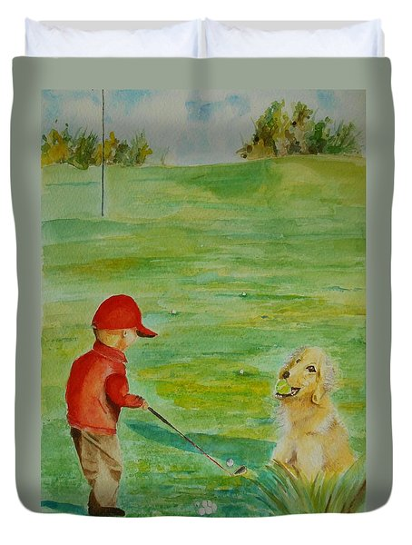 Duvet Cover featuring the painting Everything Waits While I Golf Art by Geeta Biswas