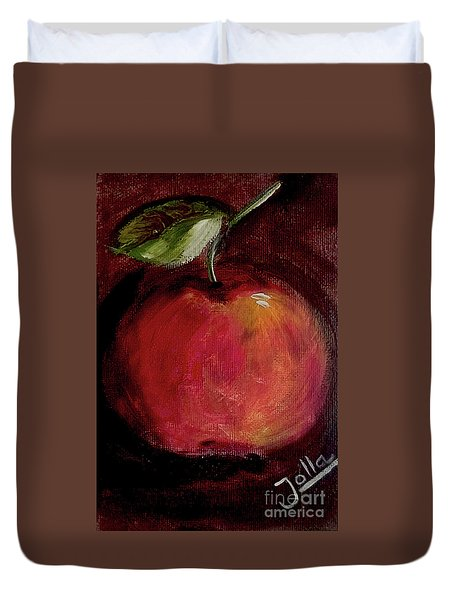 Duvet Cover featuring the painting Eve's Apple.. by Jolanta Anna Karolska