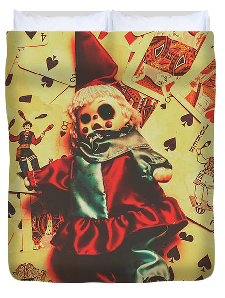 Evil Clown Doll On Playing Cards Duvet Cover