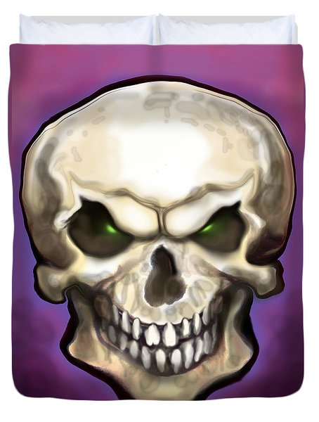 Duvet Cover featuring the painting Evil Skull by Kevin Middleton
