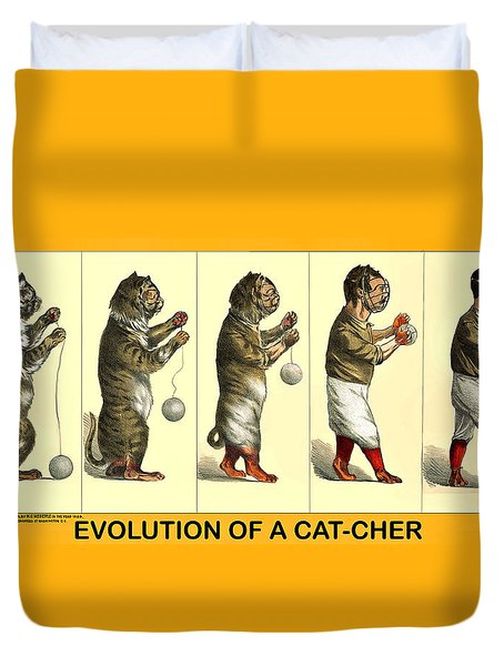 Evolution Of A Cat-cher Duvet Cover