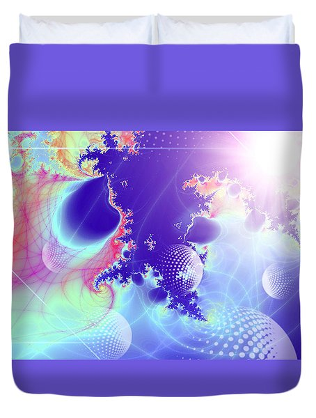 Duvet Cover featuring the digital art Evolving Universe by Ute Posegga-Rudel