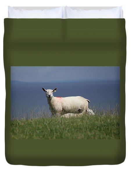 Ewe Guarding Lamb Duvet Cover