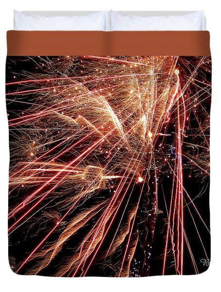 Duvet Cover featuring the photograph Exciting Fireworks #0734 by Barbara Tristan