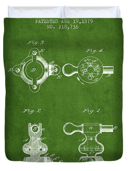 Exercise Machine Patent From 1879 - Green Duvet Cover