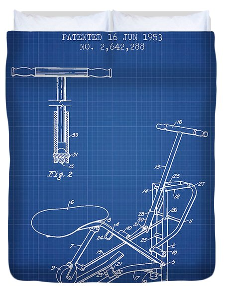 Exercise Machine Patent From 1953 - Blueprint Duvet Cover