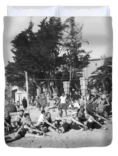 Exercises On The Beach Duvet Cover