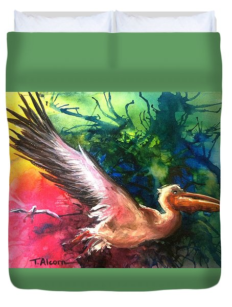 Duvet Cover featuring the painting Exhilarated - Original Sold by Therese Alcorn