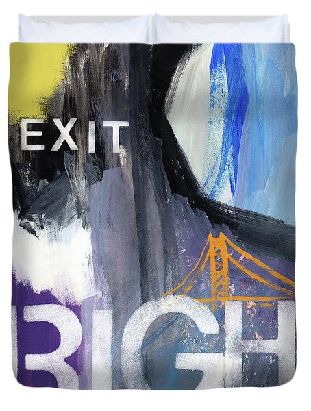 Exit Right- Art By Linda Woods Duvet Cover by Linda Woods