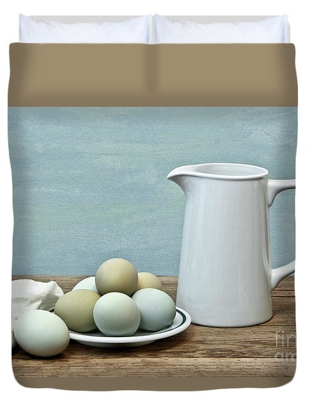 Exotic Colored Eggs With Pitcher Duvet Cover
