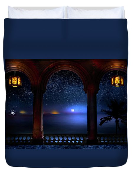 Duvet Cover featuring the photograph Exotic Night by Mark Andrew Thomas