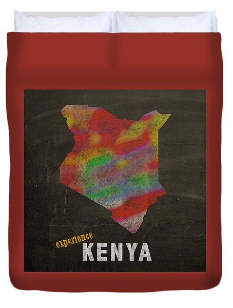 Experience Kenya Map Hand Drawn Country Illustration On Chalkboard Vintage Travel Promotional Poster Duvet Cover