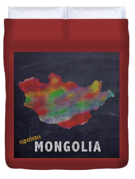 Experience Mongolia Map Hand Drawn Country Illustration On Chalkboard Vintage Travel Promotional Pos Duvet Cover