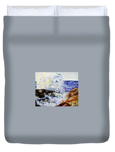 Duvet Cover featuring the painting Explode by Saundra Johnson