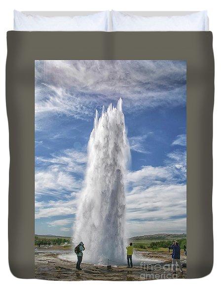 Exploding Geyser In Iceland Duvet Cover