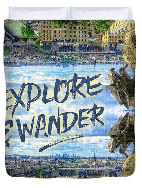 Explore And Wander Notre Dame Cathedral Gargoyle Paris Duvet Cover