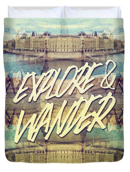 Explore And Wander Seine River Louvre Paris France Duvet Cover