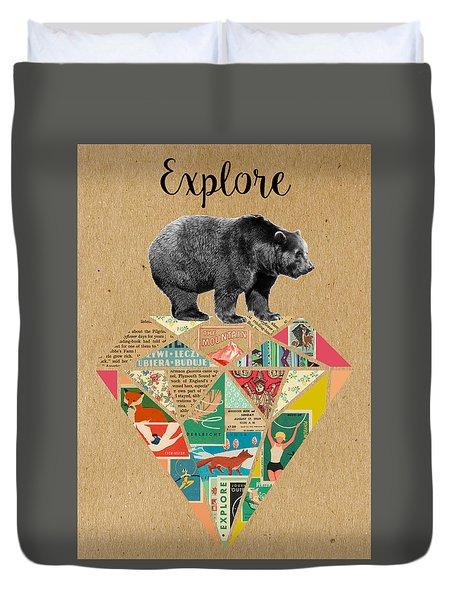 Explore Bear  Duvet Cover by Claudia Schoen