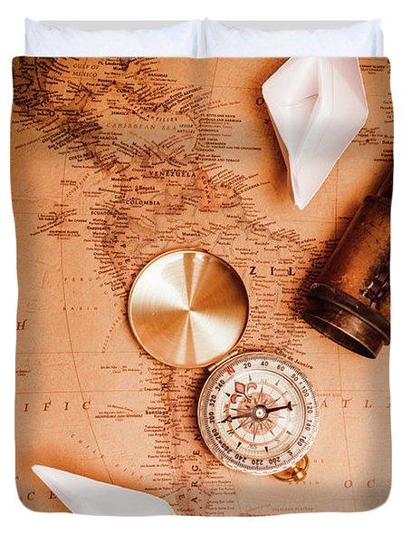 Explorer Desk With Compass, Map And Spyglass Duvet Cover